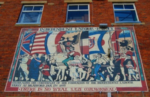 Mural on Leeds Road, Bradford. The Independent Labour Party was founded in Bradford by Keir Hardie in 1893.  Photo by Tim Green (aka atoach, Flickr)