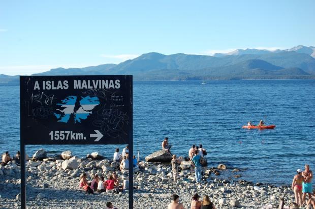 Signpost at Nahuel Huapi Lake
